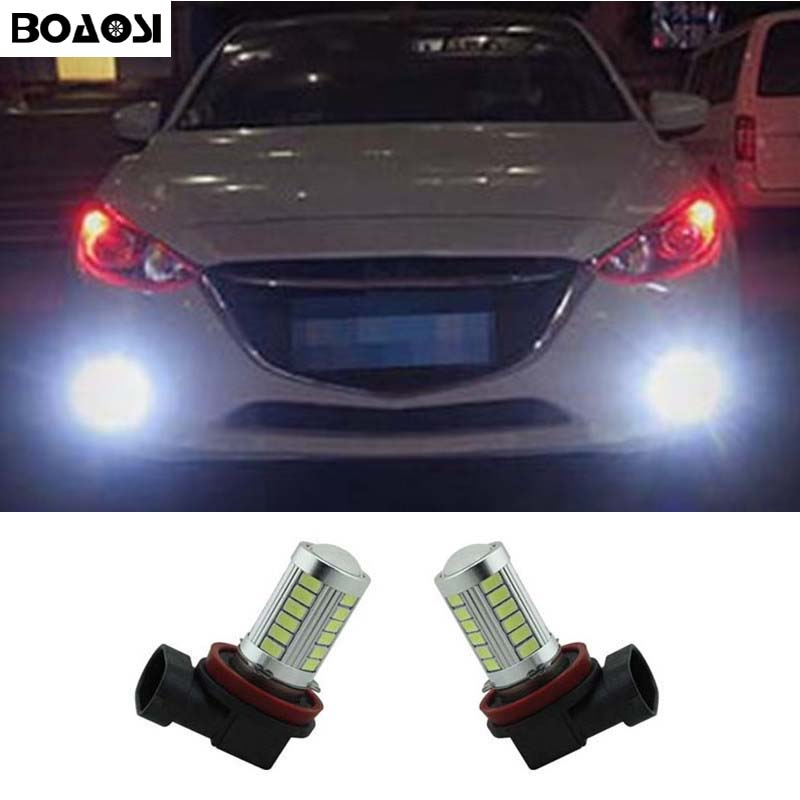 BOAOSI 2x Bright Error free H8 H11 LED Car projector Fog Light bulb For mazda 3 5 6 xc-5 cx-7 axela atenza error free t20 socket 360 degrees projector lens led backup reverse light r5 chips replacement bulb for mazda3 mazda 3