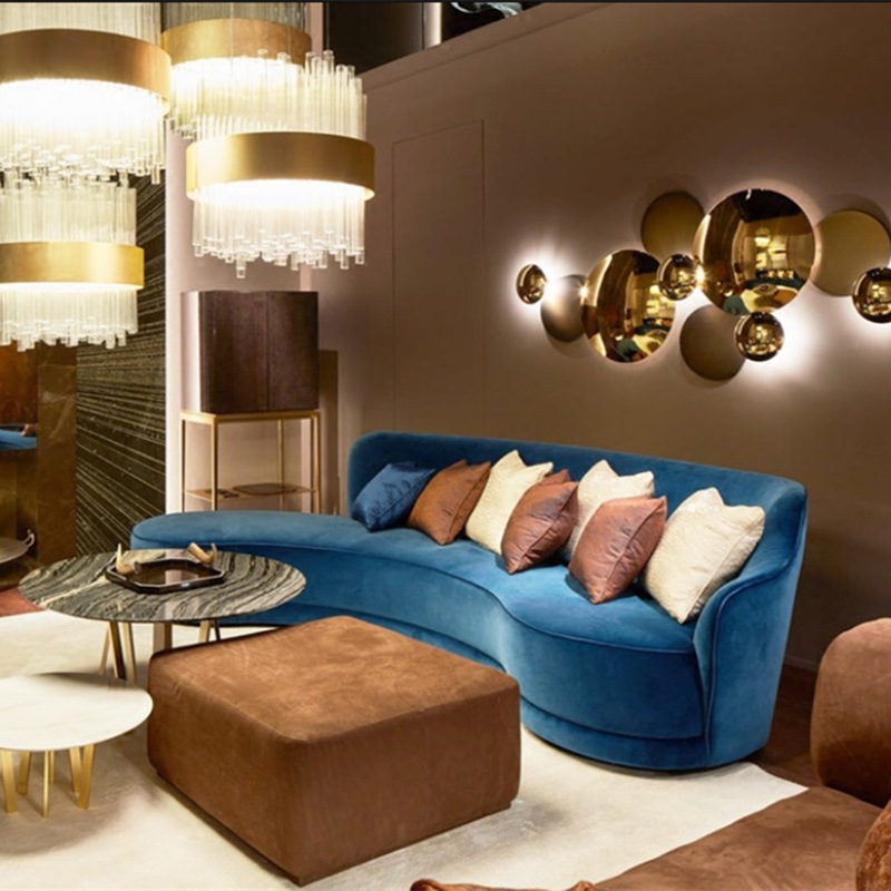 Nordic Light Luxury Blue Fabric Sofa Office Lobby Reception Curved Sofa Hotel Beauty Salon Sofa