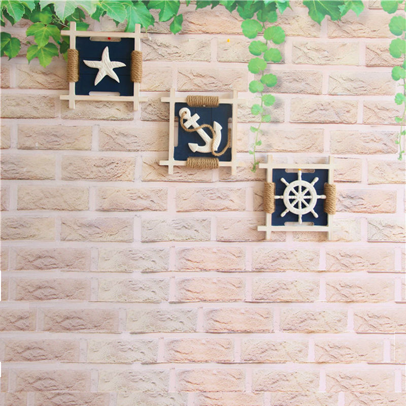 3D Mediterranean Wood Anchor Wall Hangings Home Nautical Marine Decor Wall Craft Starfish Seashell Anchor