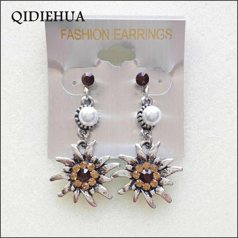 Vintage Silver Alloy Flower Boho Ethnic Dangle Drop Earrings Women Fashion Pearl Long Tassel Earrings Statement Brincos 2018