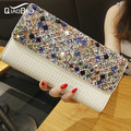 QIAO BAO 2017 Newest Bridal diamond beaded clutch bag evening bag handbag shoulder Rhinestone bag