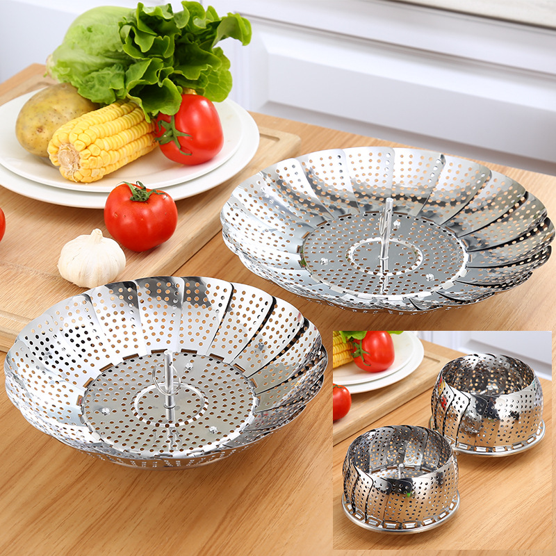 Retractable Stainless Steel Food Fruit Vegetable Drain Basket Pan Steamer Poacher Cooker Steaming Tray Folding Steamer Bowl