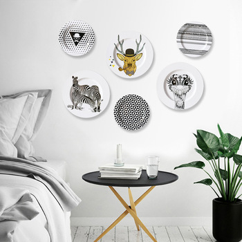 Decorative Plate Set Plates Iron Restaurant Ornaments Nordic Wall Living Room Personality Creative Background Wall Hanging Plate