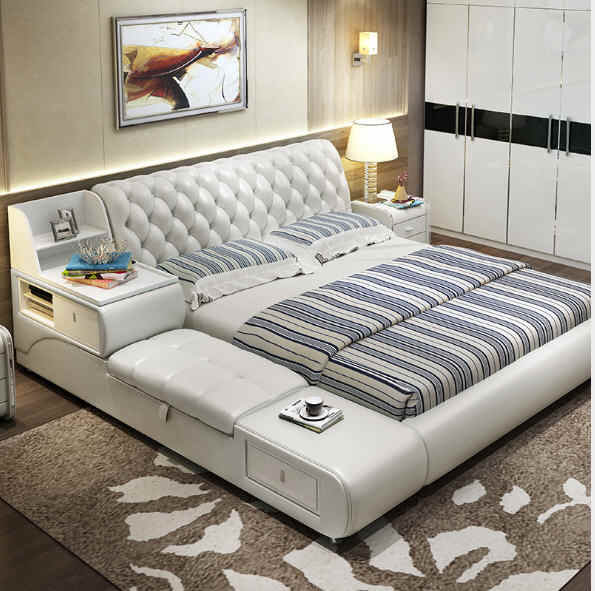 post modern real genuine leather bed / soft bed/double bed king/queen size bedroom home furniture with storage box and drawers
