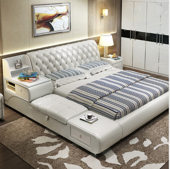 Post Modern Real Genuine Leather Bed Soft Double King Queen Size Bedroom Home Furniture With Storage Box And Drawers