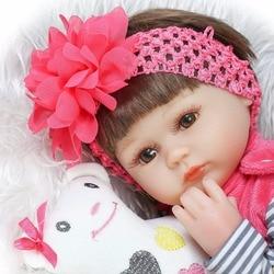 Bebe reborn de Silicone realista 42 centímetros Renascer Baby Doll crianças Playmate brinquedos de Presente Para Meninas ano novo corpo macio boneca reborn