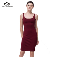 Bella Philosophy 2016 Summer Autumn Highly Stretchy Red Blue Gray Slim Tank Women Dress Back Split