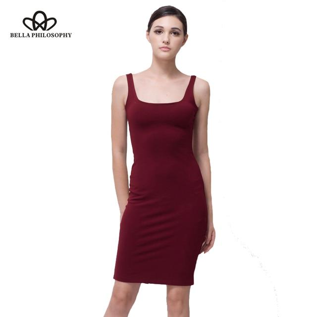 78b4c541716 Bella Philosophy 2018 spring summer basic stretchy red blue gray slim tank  women dress cotton back split dress women vestidos