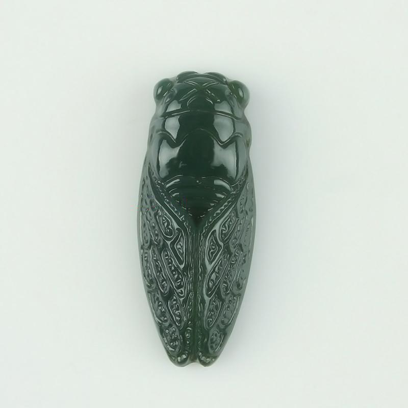 100%Natural Chinese Hetian jade and hand-carved cicada pendant fashion Women Necklace jewelry gifts