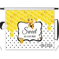 Cute Bee Sweet Honey Washable No Crease Photo Background Baby Photography Polyester Custom Backdrop Studio Photographic Seamless
