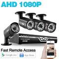 ZOSI HD 4CH CCTV Система 1080 P АХД DVR 4 ШТ. 1080 P 2.0MP Камера ИК Ночного Видения Безопасности Видеонаблюдения Комплекты E-Mail оповещения