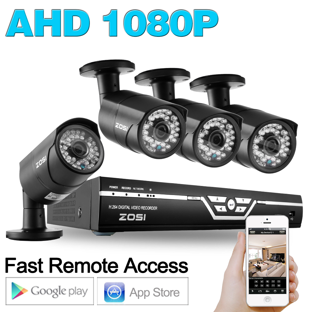 ZOSI HD 4CH CCTV System 1080P AHD DVR 4PCS 1080p 2 0MP IR Night Vision font