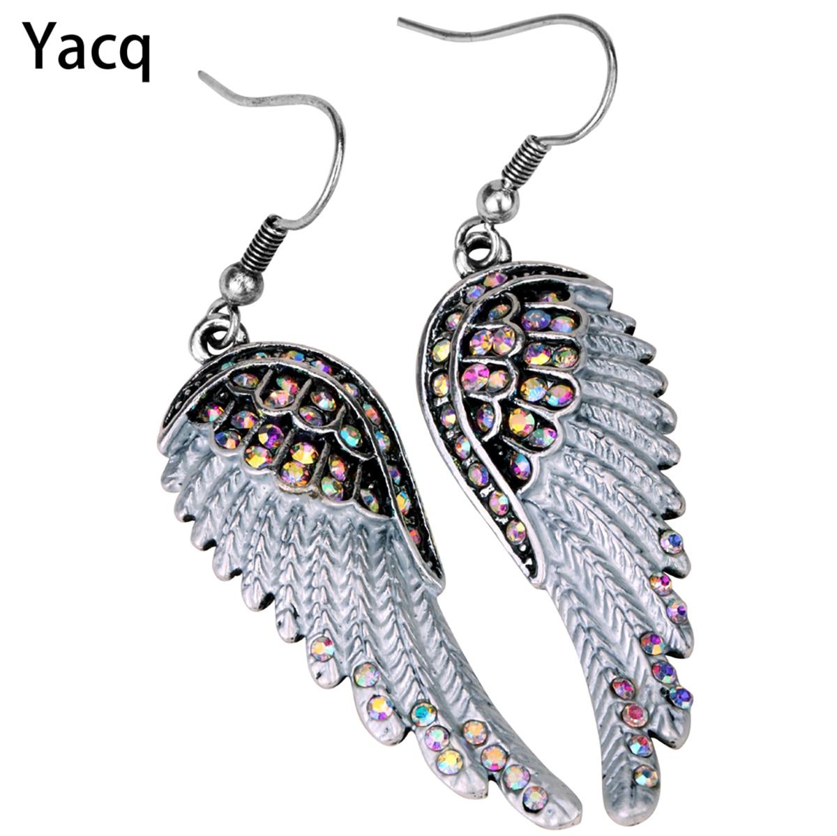 Skrzydła anioła dangle kolczyki antyczne złoto srebro kolor W kryształ kobiety dziewczyny biker bling biżuteria prezent hurtownie dropshipping EC23