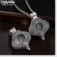Uglyless Real Solid 990 Pure Silver Open Box Buddha Pendants Necklace NO Chains Perspective Thai Silver Fine Jewelry Buddhism