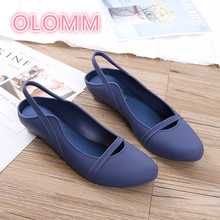 New Sandals female rear tripping belt summer jelly shoes flat bottom Baotou soft waterproof