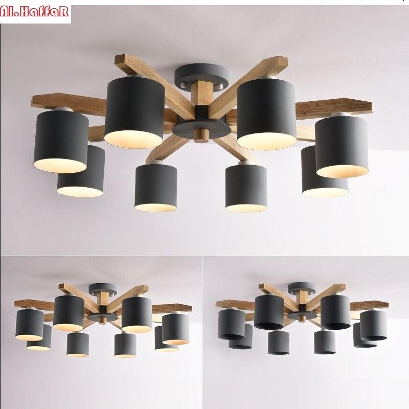 Nordique moderne en bois massif LED plafond Lustre E27 Avec Abat-Jour En Fer créatifs Luminaires Lamparas Colgantes En Bois