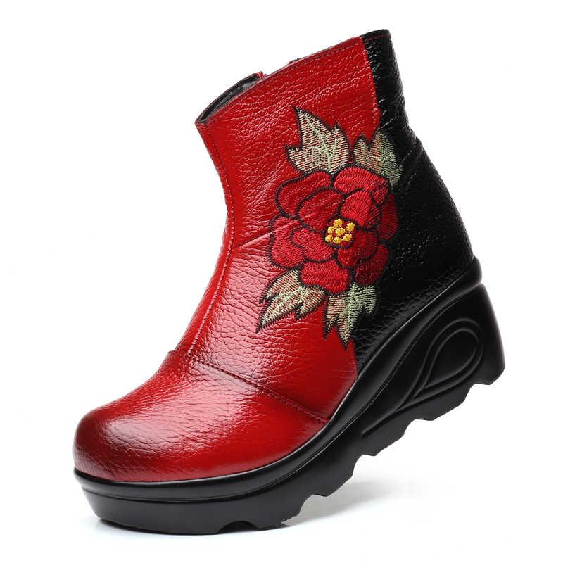 Xiuteng Boyutu 35-40 2018 Yeni Ayak Bileği bayan Botları Kış Nakış Ayakkabı Kadın Açık Batı Düz Topuklu Kadın platform Çizme