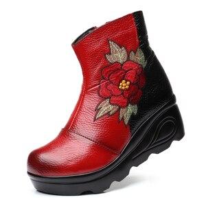 Image 2 - Xiuteng bottines dhiver pour femmes, chaussures avec broderie, talons plats occidentaux à plateforme, tailles 35 40, nouvelle collection 2020