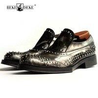 Элитная одежда с заклепками офисные вечерние Мужской социальной обуви слипоны увеличить Мужская деловая обувь кожаная мужская Обувь Sapato