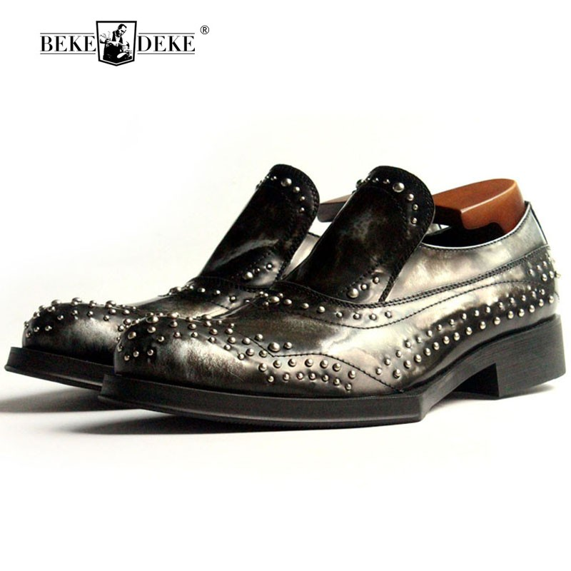 Luxury Dress Shoes Rivets Office Party Male Social Shoe Slip On Increase Men  Formal Shoes Leather 46c922f97519