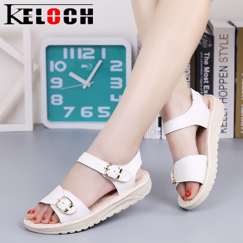 Keloch High Quality Womens Genuine Leather Sandals Comfortable Summer Planform Wedges Shoes Women Elegant Sandalias summer shoes high quality of handmade genuine leather womens shoes open toe sandals cowhide leather comfortable flat sandals
