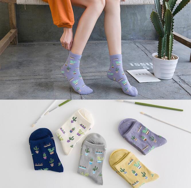 50pair Women Cotton Plain Jacquard Cactus Fresh Plant streewear Sock Simple Wild Ladies Trend Comfortable Socks