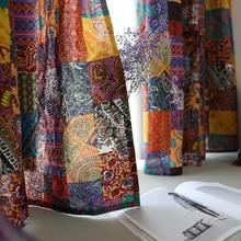 Cortinas Bohemias de estilo étnico Vintage, de algodón tela de lino, cortina corta de medio oscurecimiento para sala de estar, decoración de dormitorio