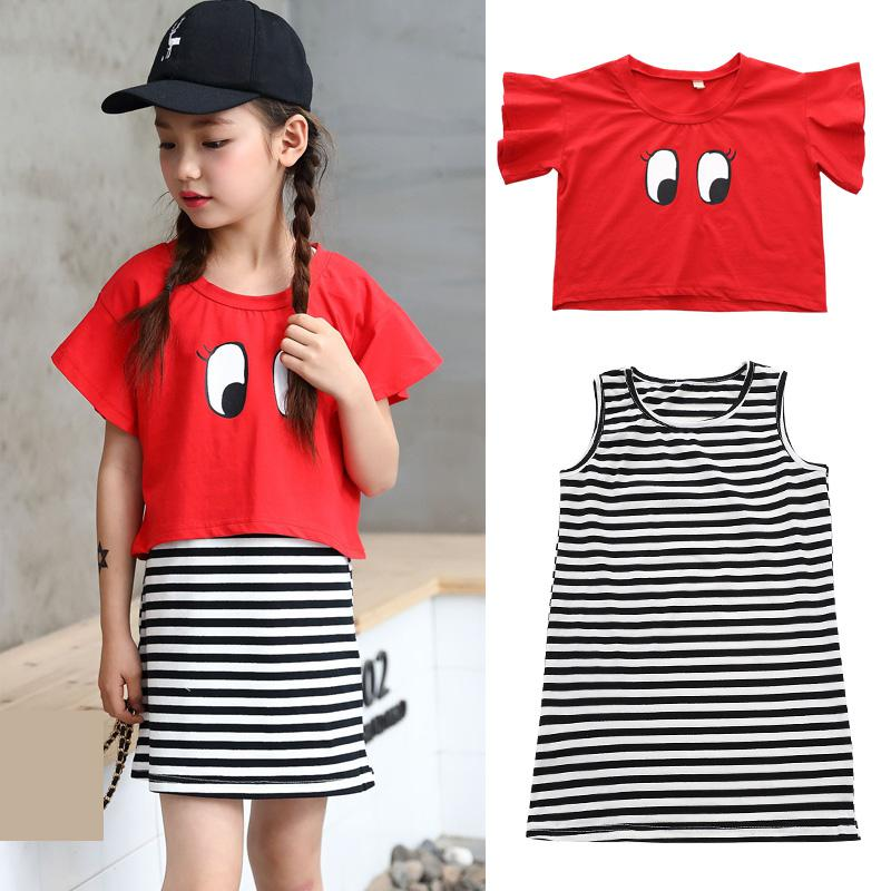 2018 Boutique Girls Clothes Set Summer Toddler Girls Kids Tops T-shirts + Sleeveless Striped Dress 2Pcs Outfit Set Clothes 10 12 baby girl summer clothes 2018 kids girls clothes set two pcs t shirt striped shirt 5 6 8 10 12 year girls boutique outfits