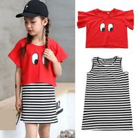 2018 Boutique Girls Clothes Set Summer Toddler Girls Kids Tops T Shirts Sleeveless Striped Dress 2Pcs