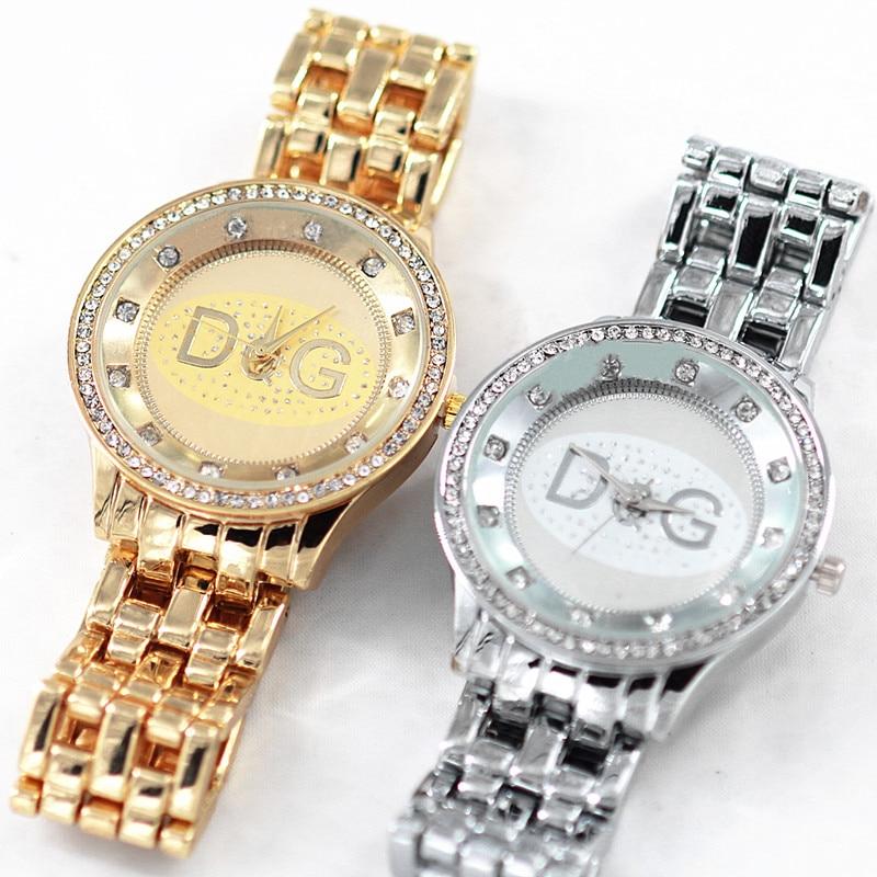 Reloj Mujer 2018 Hot Sale Newest Top Brand DQG Lady Silver Golden Full Steel Rhinestone Sport Quartz Watch Lady Holiday Gift