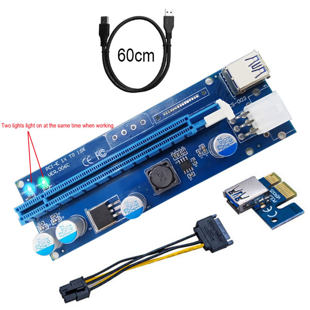 60cm PCI-E Express Riser Card 1X To 16X Extender With LED Light USB3.0 Cable Adapter SATA 6Pin Power Supply XXM8 10x usb 3 0 pci e 1x to 16x powered extender riser adapter card with sata cable