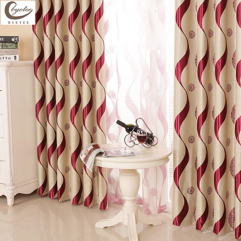 Byetee High Quality European Finished Products Living Room Curtain Window Screening Strip Luxury Curtain