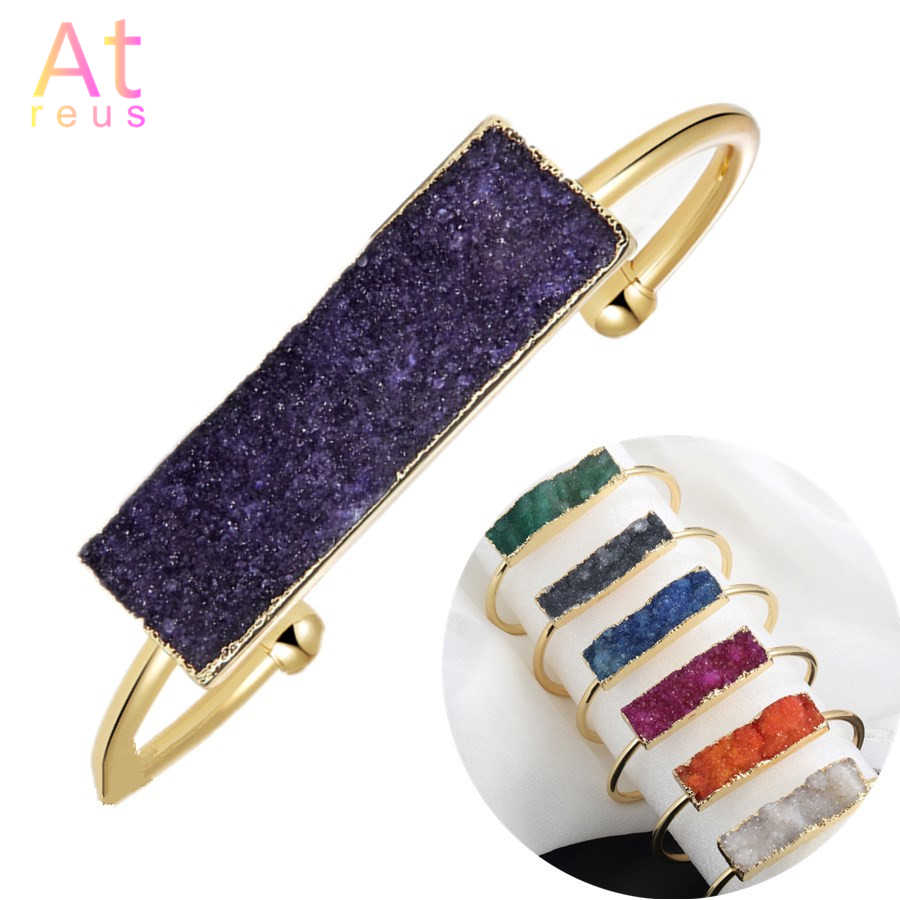 8 Color Druzy Natural Stone Charm Bangle For Women Gold Color Bangles pulsera bilezik Boho Chic Fashion Jewelry Cuff Bracelet