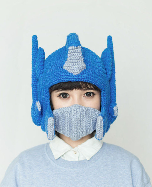 Crochet Transformer Optimus Prime Hat handmade knitted Face Mask Windproof Mask warm funny costume
