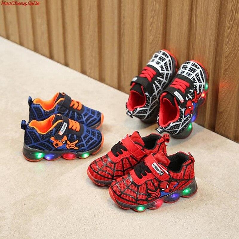 Boys Spiderman Illuminated Tenis Infantil Glowing Girls Sneakers New Luminous Sneakers Basket Led Children Lighting Shoes