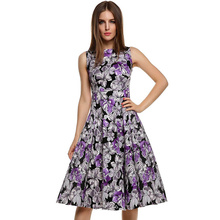 New Style Round Colloar Printed Vintage Retro Style Fashion Dress Pin up Adult Girls Dress L36108-2