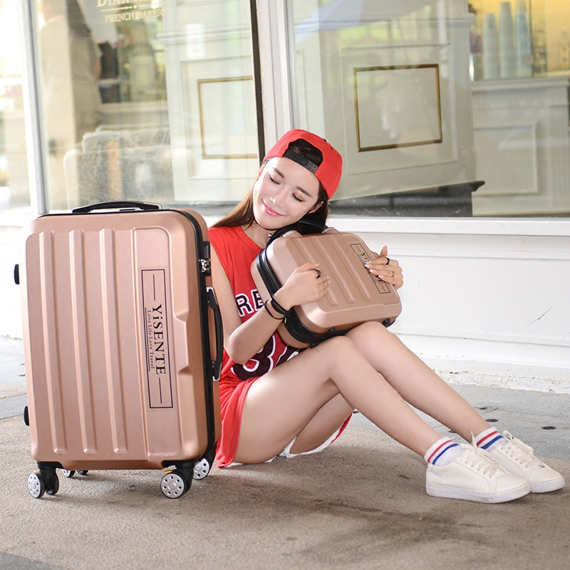 Wholesale!14 28inches abs hardside case travel luggage sets on universal wheels,male and female candy color trolley luggage bags