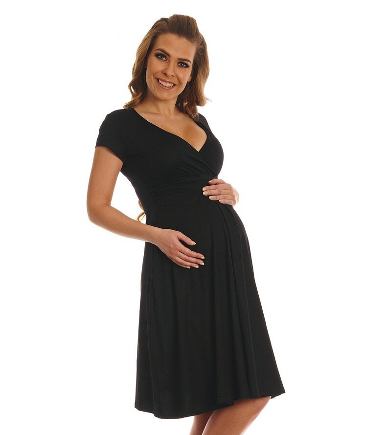 Envsoll 2018 Summer New Maternity Nursing Dress V-Neck Short Sleeve Pregnant Dress Pregnancy Clothes Wine Red and Black