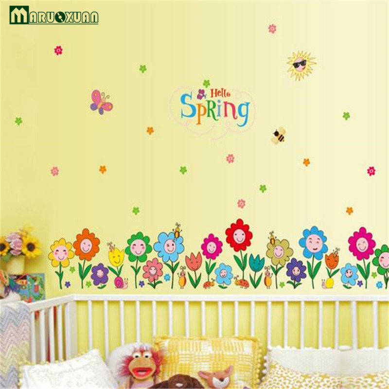 Colorful Butterfly Flower Stickers Skirting Kids Room Kindergarten ...