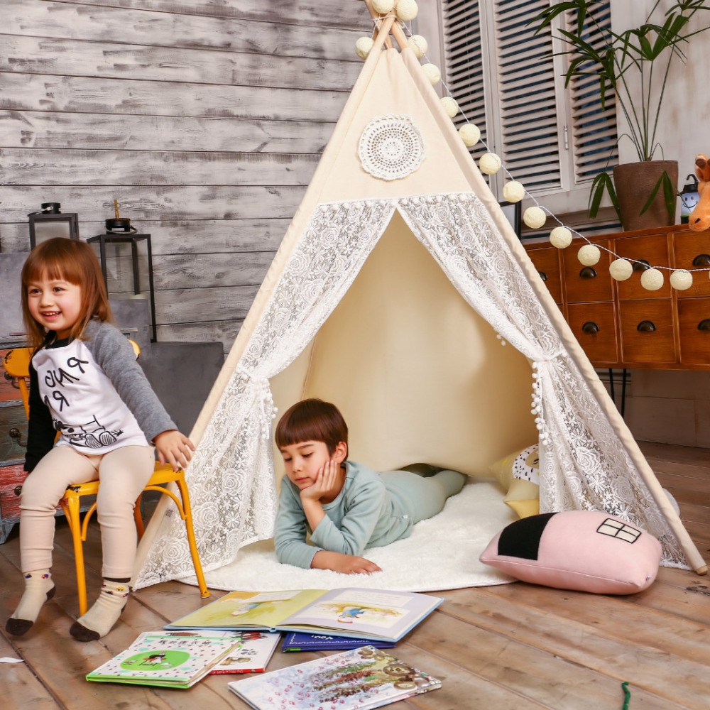 LoveTree Canvas Teepee Canopy Tent Playhouse Kids toy teepee tent Play room Indoor outdoor tourist game room teepee Lace teepee foldable kid indoor tent kids outdoor playhouse children kids tent toys play tent game house indian teepee