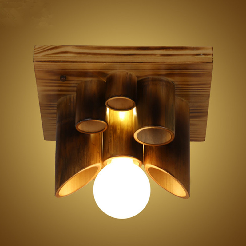 Hot Sale Lustres De Sala New Retro Originality Balcony Aisle LED Ceiling Lamp American Style Wood Bamboo Lights Free Shipping new arrival modern chinese style bamboo wool lamps rustic bamboo pendant light 3015 free shipping