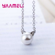 New Trendy Best Valentine Gift Jewelry Necklace 925 Sterling Silver Cute Cat Pendants For Women/Girls Birthday Party(China)