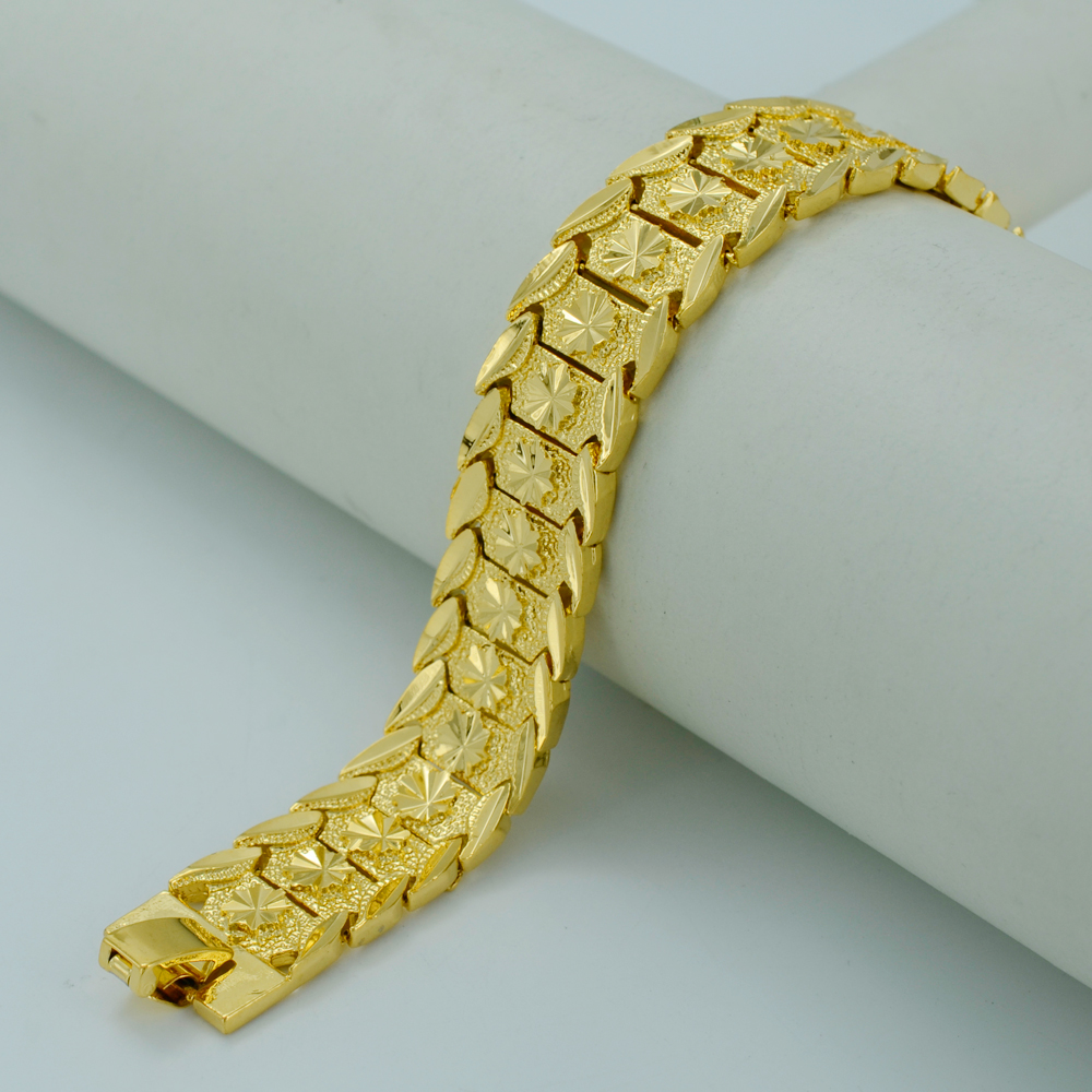 20 5cm gold bracelet for real real gold plated