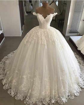 Vestido De Noiva 2019 Princess Wedding Dresses Ball Gown Off Shoulder Sweetheart Glitter Applique Lace Saudi Arabic Bride Dress - DISCOUNT ITEM  33% OFF All Category