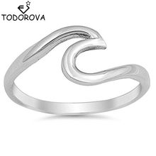 Todorova Sculpture Statement Summer Sea Beach Wave Ring for Women Men Jewelry Wire Wrap Surf Rings(China)
