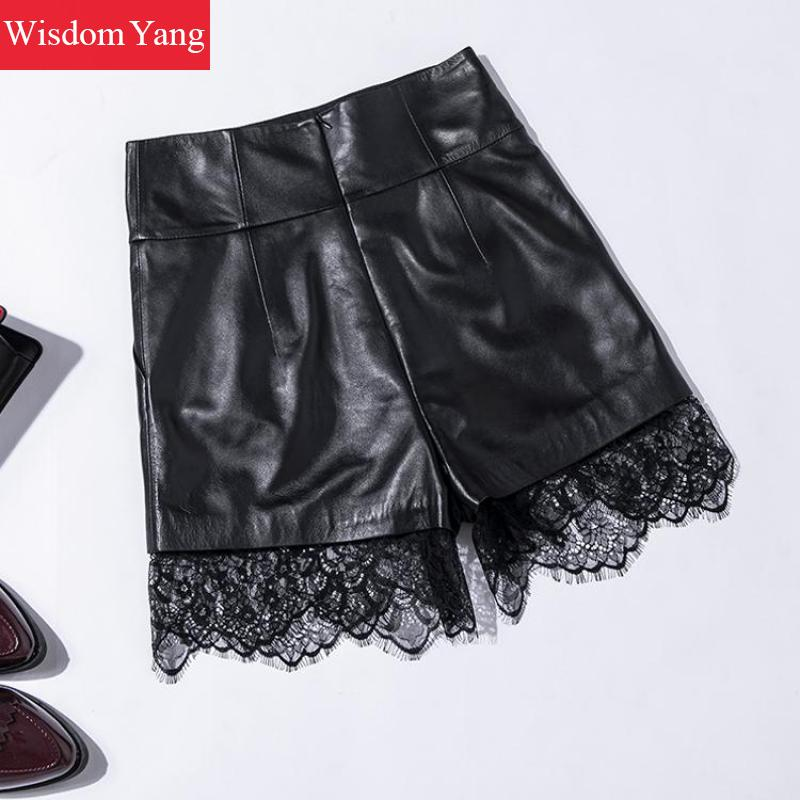Autumn Wide Leg Real Sheep Skin Genuine Leather Shorts Women Vintage High Waisted Lace Shorts Black Mini Short Ladies Trousers - 6