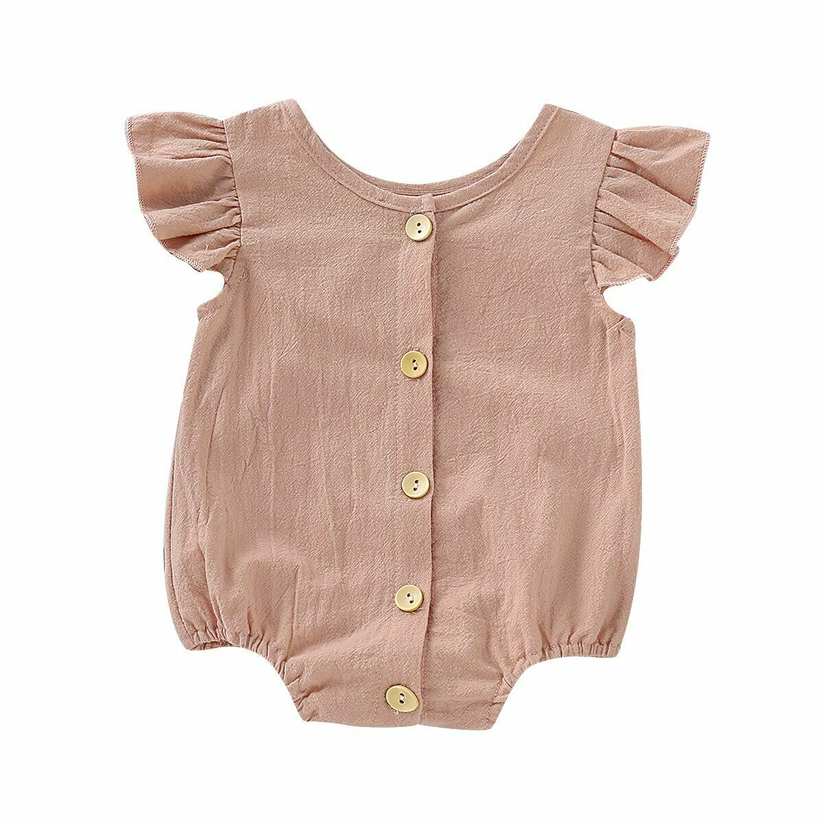 Ruffled pink Ramie Cotton Bodysuit