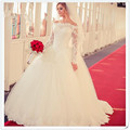 Princess Long Sleeve Muslim Wedding Dress 2016 Robes De Mariage Lace White Tulle Ball Gown Vintage Wedding Dresses Plus Size