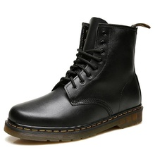 New Men's Winter Boots Fashion Retro Genuine Leather Ankle Boots Lace-up Motorcycle Martin Boots For Male botas hombre