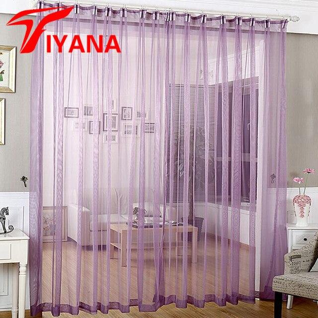 Französisch Vorhänge Lila Sheer Vorhänge Für Wohnzimmer Küche Vorhang Tüll  Fenster Behandlungen Decor Einfarbig Voile P339Z20